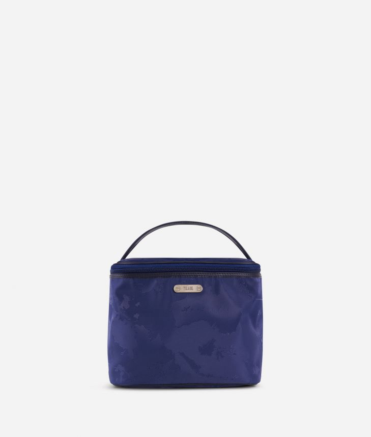 Boston-bag beauty case in blue Geo fabric,front