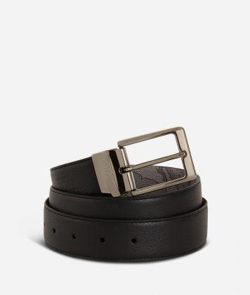 Men's belt leather grey