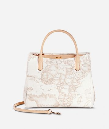 Geo White Small handbag with strap