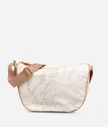 Geo Soft White Small half-moon handbag