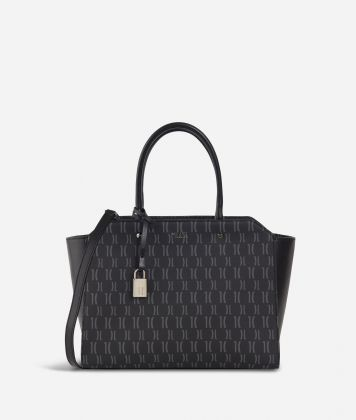 Monogram Hand bag with shoulder strap Black