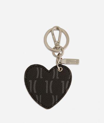 Monogram Portachiavi a forma di cuore Nero