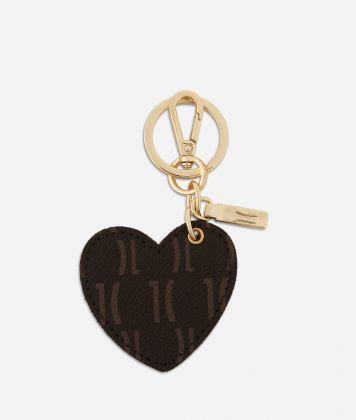 Monogram Heart-shaped Keyring Dark Buff