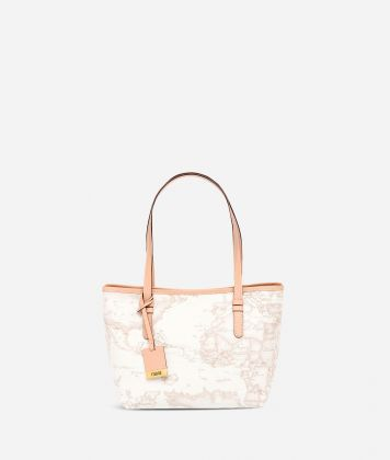 Geo White Small shopping bag