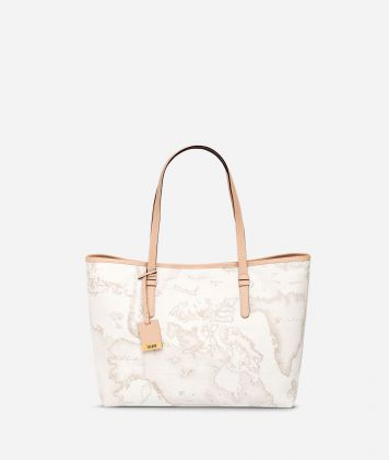 Geo White Large shopping bag