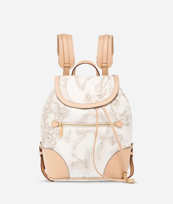 Geo White Backpack with leather corners