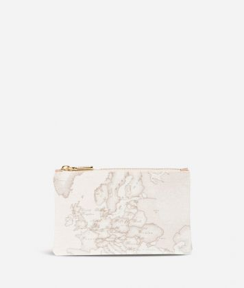 Geo White Medium rectangular pouch