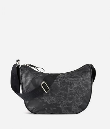 Geo Soft Black Medium half-moon handbag