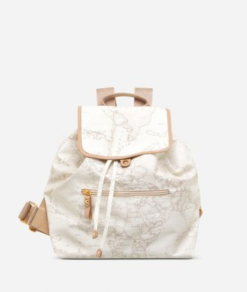 Geo Soft White Backpack with front pocket