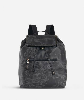 Geo Soft Black Backpack with front pocket