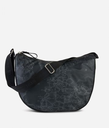 Geo Soft Black Large half-moon bag