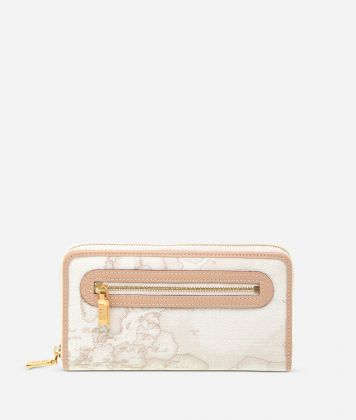 Geo White Large zipped wallet