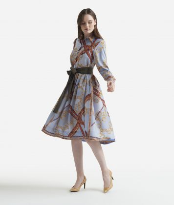 Twill midi chemisier dress with Geo intrecci