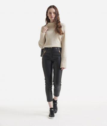 Pantalone skinny in ecopelle Nero