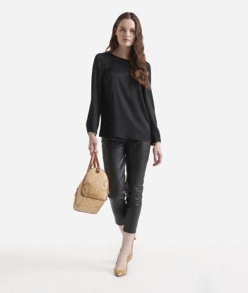 Basic charmouse viscose fabric blouse Black