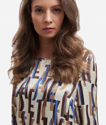 Lettering print viscose blouse Beige