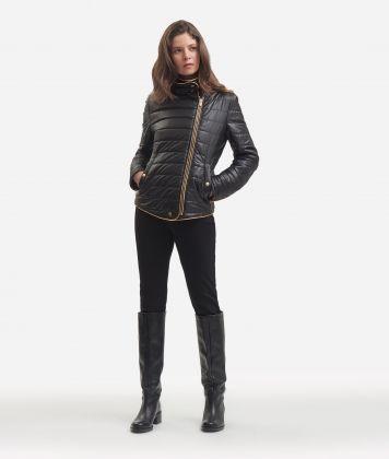 Padded nylon biker jacket Black