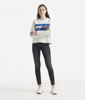 Boxy sweatshirt with paillettes White