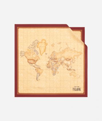 Geo Classic print foulard 50 x 50 Bordeaux