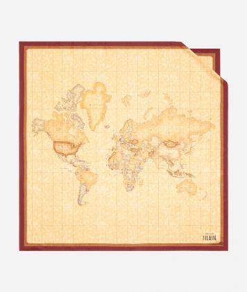 Geo Classic print foulard 90 x 90 Bordeaux