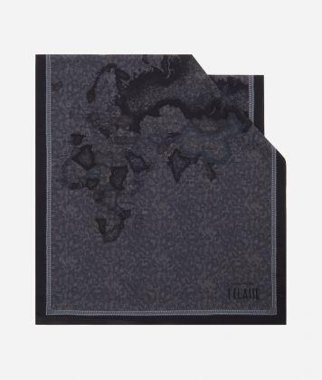 New Geo Color print foulard 45 x 180 Grey