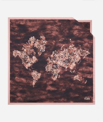 Magic Forest print foulard 90 x 90 Bordeaux