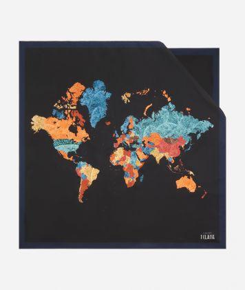 Geo Foglie print foulard90 x 90 Black