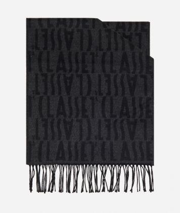 Wool Scarf with Logos40 x 190 Grey
