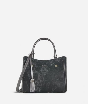 Geo Silver Night Small Handbag Black