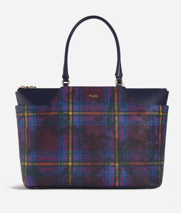 Geo Tartan Big Shopping bag Multicolor