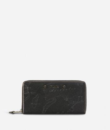 Geo Silver Night Ziparound Wallet Black