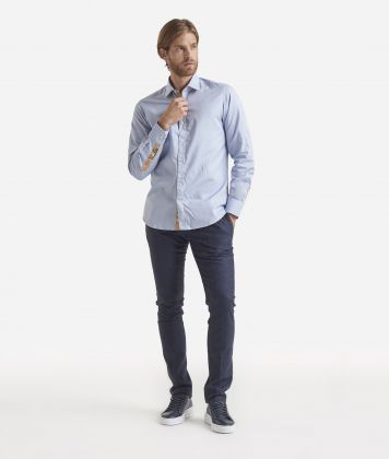 Regular fit cotton shirt Light Blue