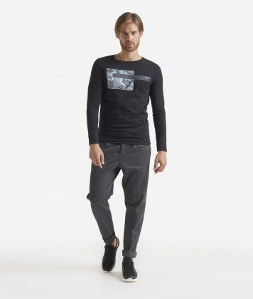 T-shirt with long sleeves and print Black