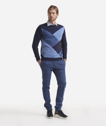Maglia girocollo in misto lana Blu