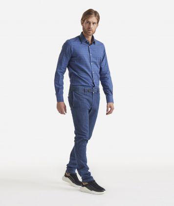 Super slim cotton trousers Dark blue