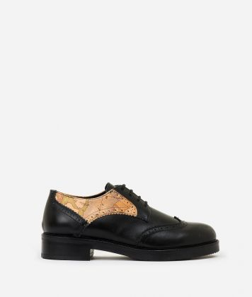 Leather and nappa derby Black