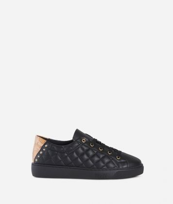 Matelassè eco-leather sneakers Black