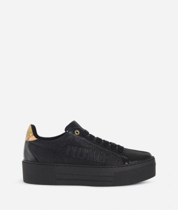 Glittered fabric sneakers Black