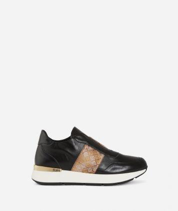Pearly eco-leather running sneakers Black