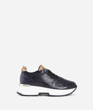 Eco-python leather sneakers Blueberry