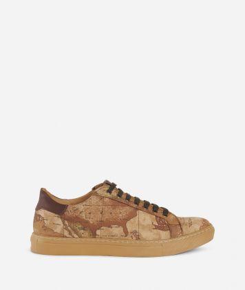 Geo Classic print nabuk running sneakers Natural Tan