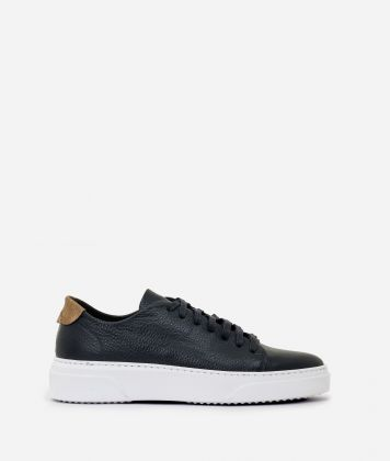 Pebbled leather sneakers Blue
