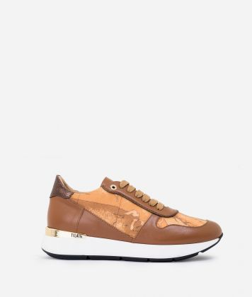 Leather and Geo Classic running sneakers Dark Buff