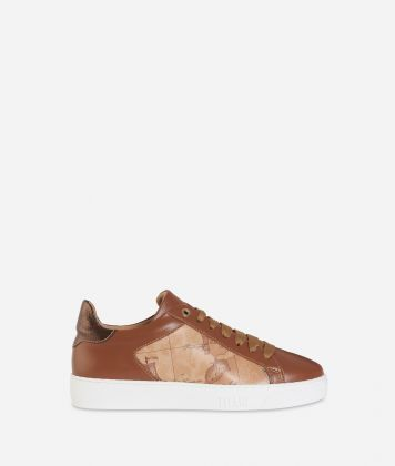 Geo Classic print and leather sneakers Dark Buff