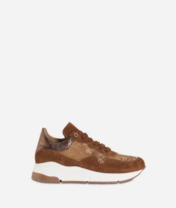Geo Nabuk fabric running sneakers Bronze