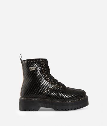 Eco-python leather combat boots with studs Black