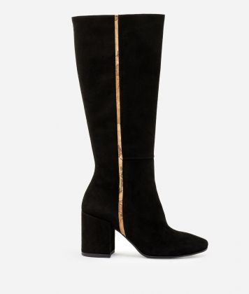 Suede leather high heel boots Black