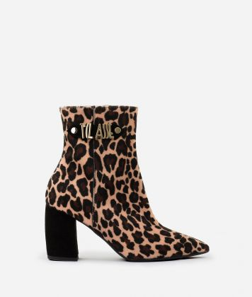 Animalier print ankle boots with maxi logo Animalier