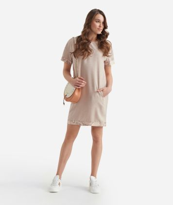 A-line dress in shantung Beige
