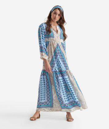 Kaftan dress in twill with Mosaic print Light Blue